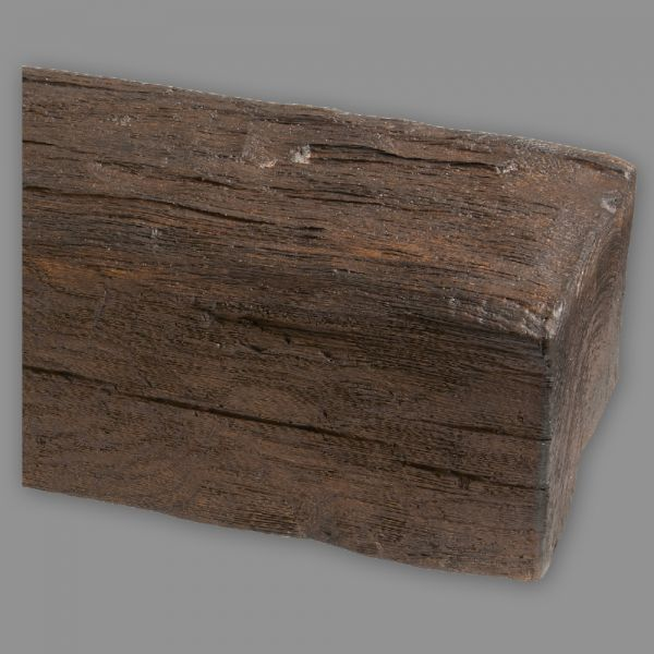 Deckenbalken Eiche Holz Imitat, 12 x 12 cm, Länge 4 m, dunkelbraun