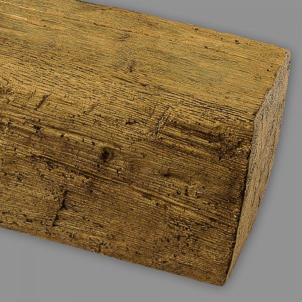 Deckenbalken Holz Eiche Imitat, 19 x 17 cm, Länge 4 m, hellbraun