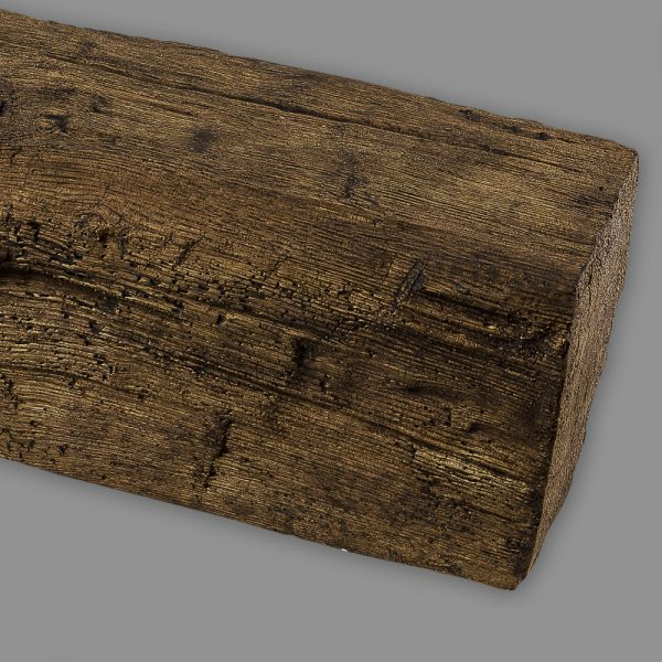 Deckenbalken Imitat Holz Eiche, 12 x 12 cm, Länge 2 m, dunkelbraun